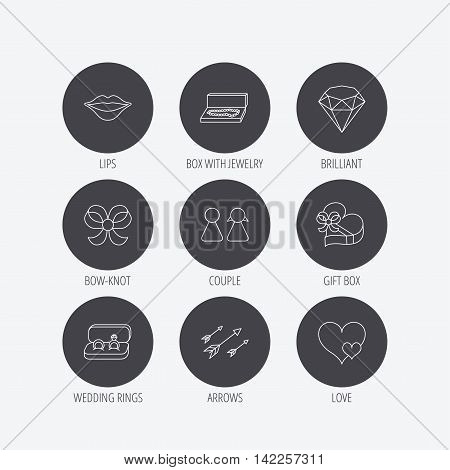 Love heart, gift box and wedding rings icons. Kiss lips and couple linear signs. Valentine amour arrows, brilliant flat line icons. Linear icons in circle buttons. Flat web symbols. Vector