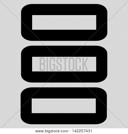 Database vector icon. Style is linear flat icon symbol, black color, light gray background.