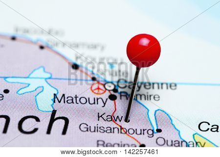Kaw pinned on a map of French Guiana