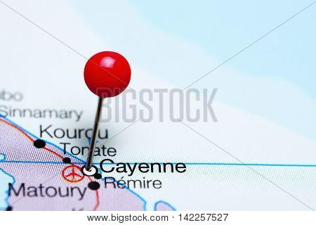 Cayenne pinned on a map of French Guiana