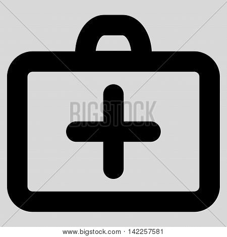 First Aid vector icon. Style is linear flat icon symbol, black color, light gray background.