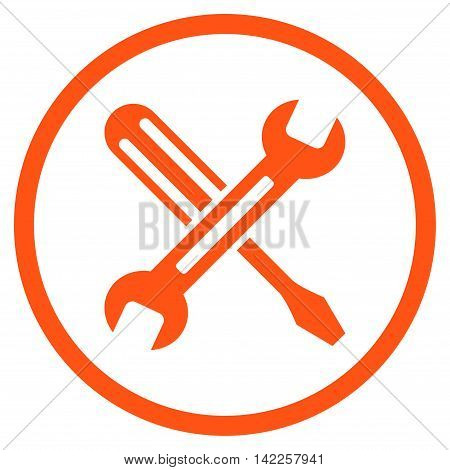 Tuning vector icon. Style is flat rounded iconic symbol, tuning icon is drawn with orange color on a white background.