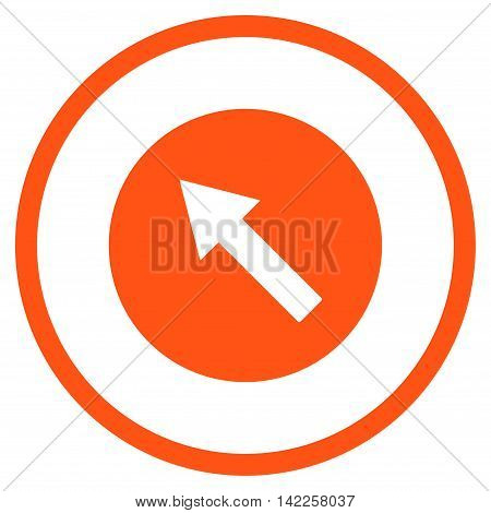 Up-Left Rounded Arrow vector icon. Style is flat rounded iconic symbol, up-left rounded arrow icon is drawn with orange color on a white background.