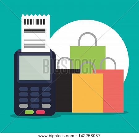dataphone shopping bag online ecommerce icon. Colorfull illustration. Vector graphic