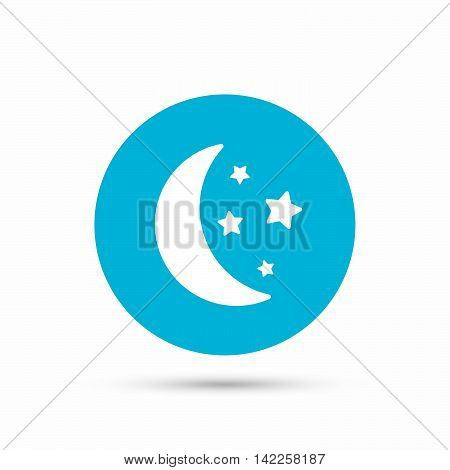 Moon and stars icon. Night sleep symbol. Blue circle button with flat web icon. Vector