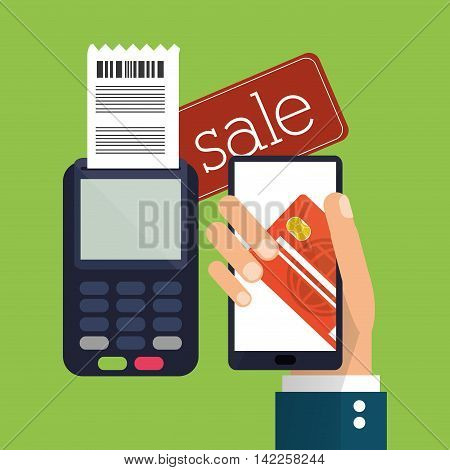 dataphone sale smartphone credit card shopping online ecommerce icon. Colorfull illustration. Vector graphic