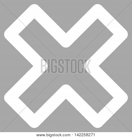 Delete X-Cross vector icon. Style is outline flat icon symbol, white color, silver background.