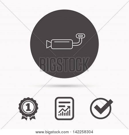 Muffer icon. Car fuel pipe or exhaust sign. Report document, winner award and tick. Round circle button with icon. Vector