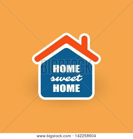 Home, Sweet Home Typography, Logo Design - Orange And Blue