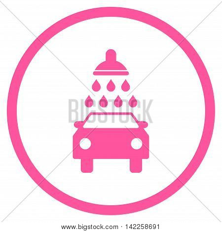 Car Wash vector icon. Style is flat rounded iconic symbol, car wash icon is drawn with pink color on a white background.