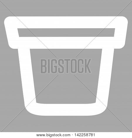 Pail vector icon. Style is stroke flat icon symbol, white color, silver background.