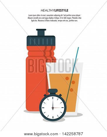 botttle juice chronometer healthy lifestyle fitness icon. Colorfull illustration. Vector graphic