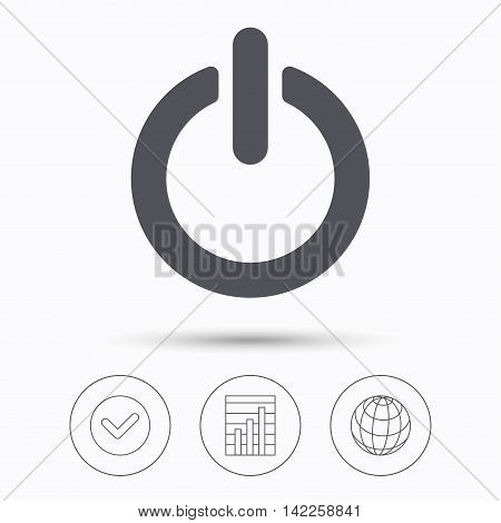 On, off power icon. Energy switch symbol. Check tick, graph chart and internet globe. Linear icons on white background. Vector