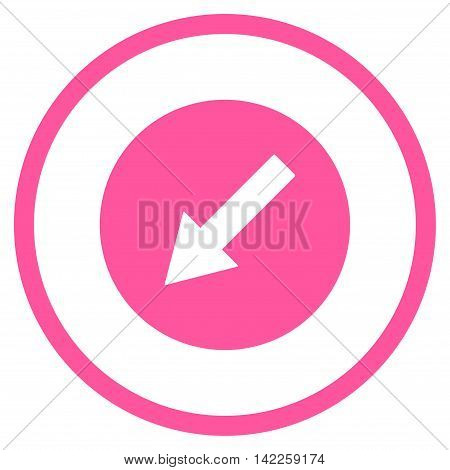 Down-Left Rounded Arrow vector icon. Style is flat rounded iconic symbol, down-left rounded arrow icon is drawn with pink color on a white background.