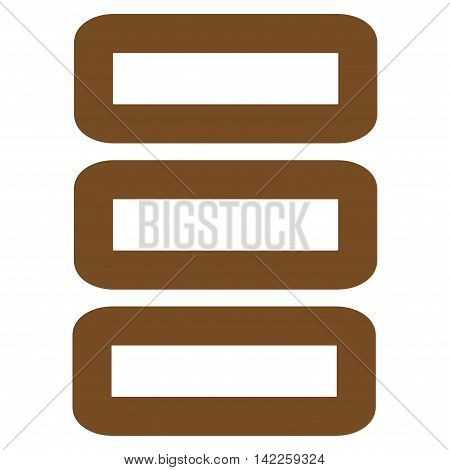 Database vector icon. Style is stroke flat icon symbol, brown color, white background.