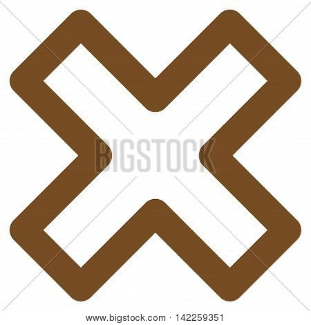 Delete X-Cross vector icon. Style is contour flat icon symbol, brown color, white background.