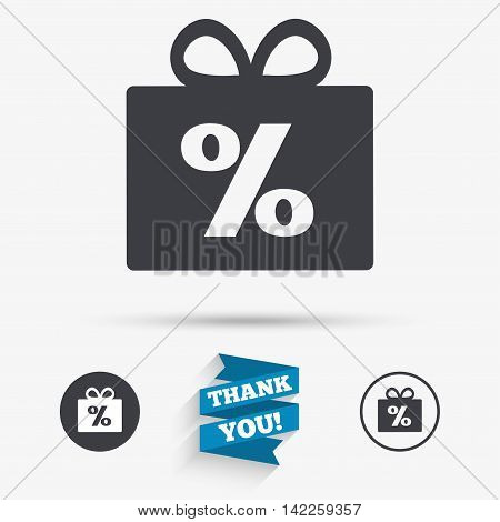 Gift box sign discount icon. Present symbol. Flat icons. Buttons with icons. Thank you ribbon. Vector