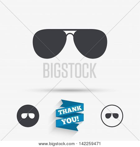Aviator sunglasses sign icon. Pilot glasses button. Flat icons. Buttons with icons. Thank you ribbon. Vector