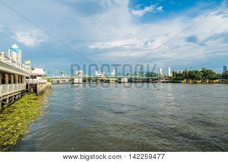 Chao Phraya River and blue sky in Bangkok Thailand