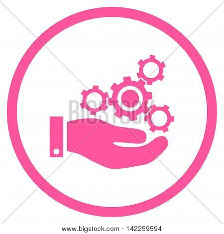 Mechanics Service vector icon. Style is flat rounded iconic symbol, mechanics service icon is drawn with pink color on a white background.