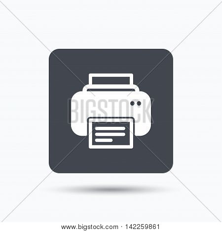 Printer icon. Print documents technology symbol. Gray square button with flat web icon. Vector