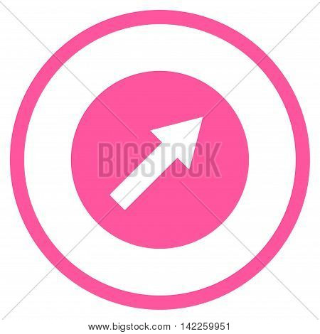 Up-Right Rounded Arrow vector icon. Style is flat rounded iconic symbol, up-right rounded arrow icon is drawn with pink color on a white background.