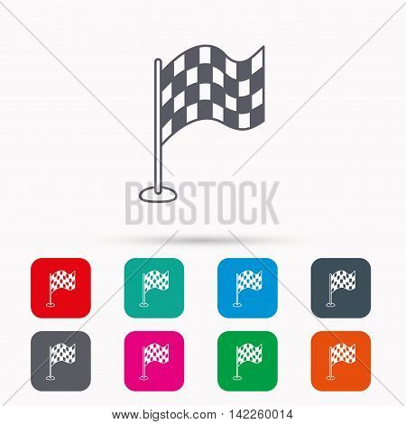 Racing flag icon. Finishing symbol. Linear icons in squares on white background. Flat web symbols. Vector