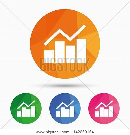Graph chart sign icon. Diagram symbol. Statistics. Triangular low poly button with flat icon. Vector