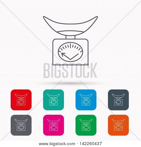 Scales icon. Kitchen weighing tool sign. Linear icons in squares on white background. Flat web symbols. Vector