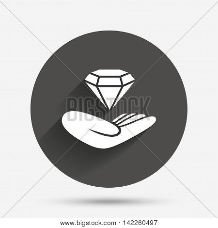 Jewelry insurance sign. Hand holds diamond symbol. Brilliant insurance. Circle flat button with shadow. Vector