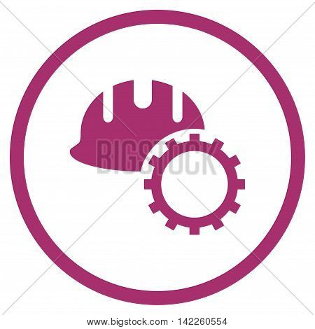 Development Hardhat vector icon. Style is flat rounded iconic symbol, development hardhat icon is drawn with purple color on a white background.
