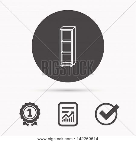 Empty shelves icon. Shelving sign. Report document, winner award and tick. Round circle button with icon. Vector