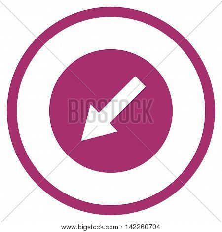 Down-Left Rounded Arrow vector icon. Style is flat rounded iconic symbol, down-left rounded arrow icon is drawn with purple color on a white background.