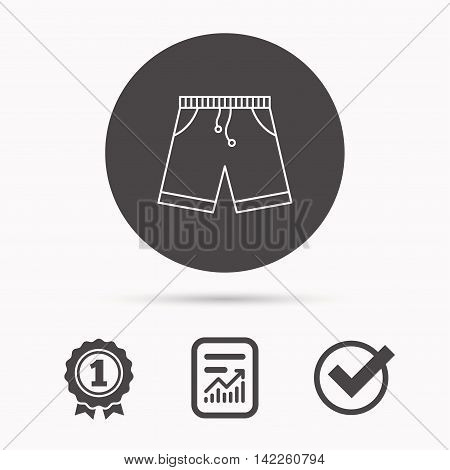 Shorts icon. Casual clothes shopping sign. Report document, winner award and tick. Round circle button with icon. Vector