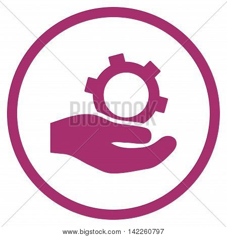 Engineering Service vector icon. Style is flat rounded iconic symbol, engineering service icon is drawn with purple color on a white background.