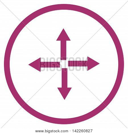Expand Arrows vector icon. Style is flat rounded iconic symbol, expand arrows icon is drawn with purple color on a white background.