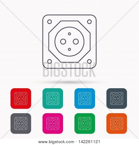 European socket icon. Electricity power adapter sign. Linear icons in squares on white background. Flat web symbols. Vector