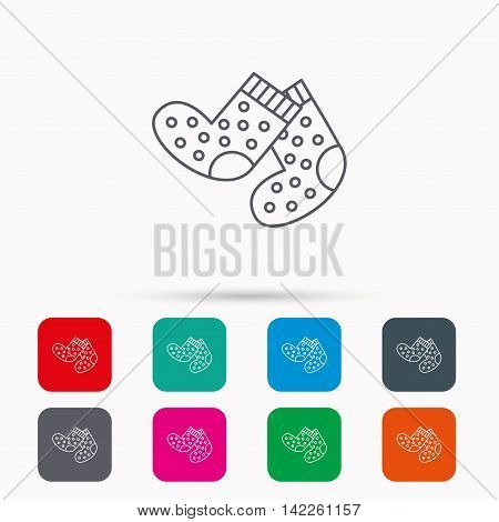 Socks icon. Baby underwear sign. Clothes symbol. Linear icons in squares on white background. Flat web symbols. Vector