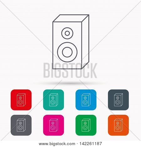 Sound icon. Musical speaker sign. Linear icons in squares on white background. Flat web symbols. Vector