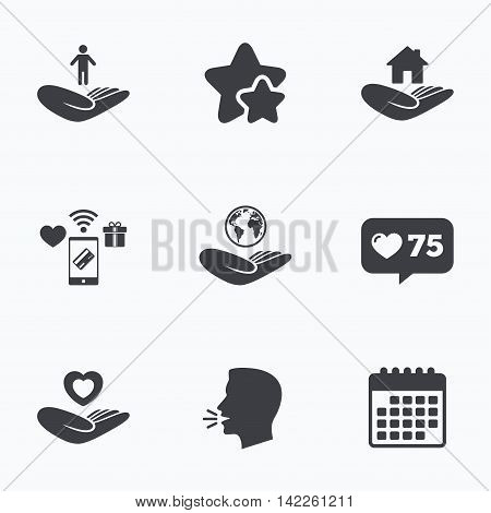 Helping hands icons. Heart health and travel trip insurance symbols. Home house or real estate sign. Flat talking head, calendar icons. Stars, like counter icons. Vector