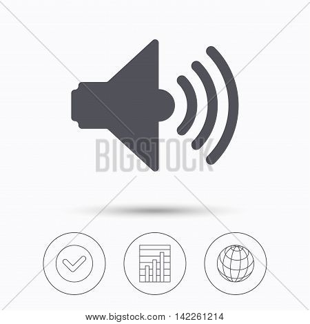 Sound icon. Music dynamic symbol. Check tick, graph chart and internet globe. Linear icons on white background. Vector