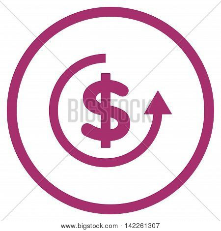 Refund vector icon. Style is flat rounded iconic symbol, refund icon is drawn with purple color on a white background.