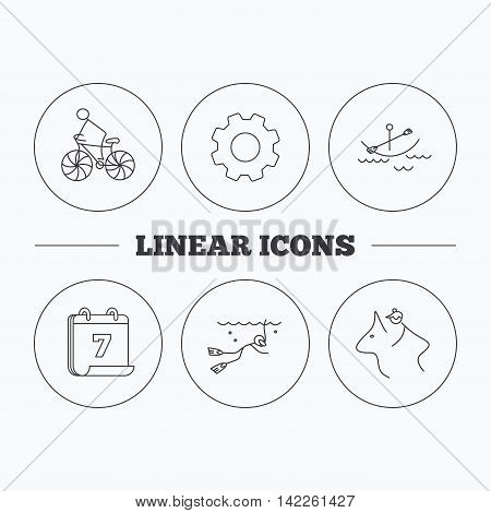 Diving, biking and horseback riding icons. Boating linear sign. Flat cogwheel and calendar symbols. Linear icons in circle buttons. Vector