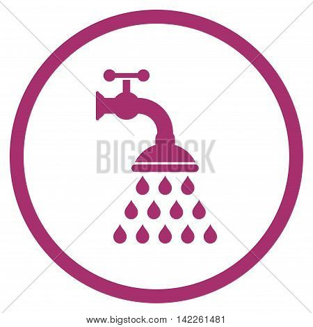 Shower Tap vector icon. Style is flat rounded iconic symbol, shower tap icon is drawn with purple color on a white background.