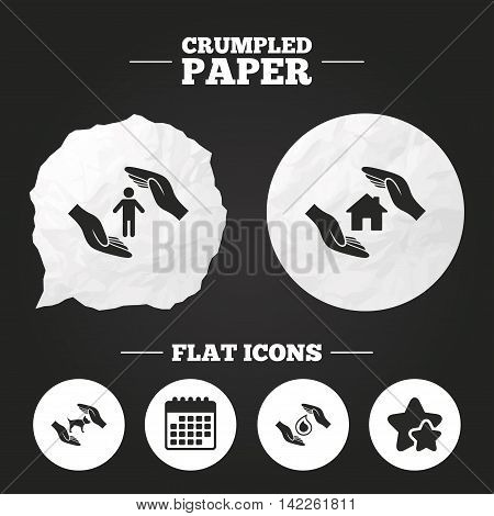 Crumpled paper speech bubble. Hands insurance icons. Shelter for pets dogs symbol. Save water drop symbol. House property insurance sign. Paper button. Vector