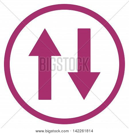 Vertical Flip Arrows vector icon. Style is flat rounded iconic symbol, vertical flip arrows icon is drawn with purple color on a white background.