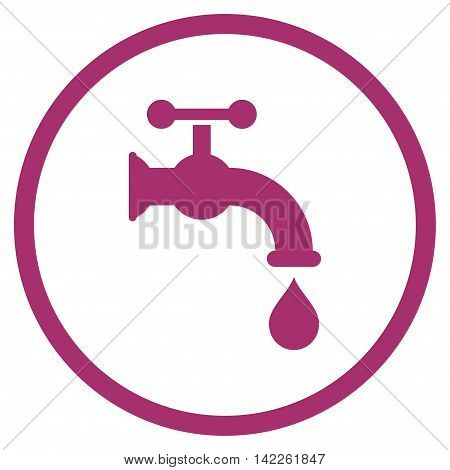 Water Tap vector icon. Style is flat rounded iconic symbol, water tap icon is drawn with purple color on a white background.