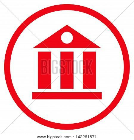 Bank Building vector icon. Style is flat rounded iconic symbol, bank building icon is drawn with red color on a white background.