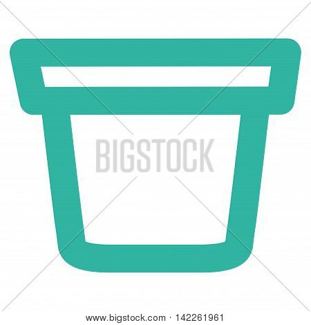 Pail vector icon. Style is stroke flat icon symbol, cyan color, white background.