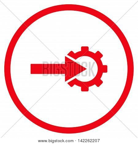 Cog Integration vector icon. Style is flat rounded iconic symbol, cog integration icon is drawn with red color on a white background.